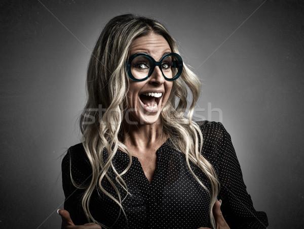 Jeunes heureux rire fille portrait verres Photo stock © Kurhan