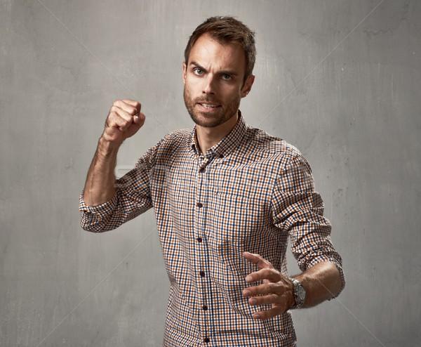 агрессивный человека сердиться насильственный портрет люди Сток-фото © Kurhan