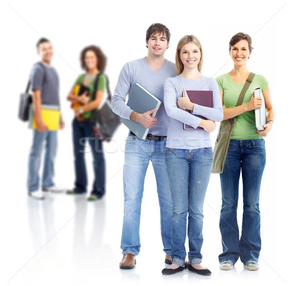 Diákok csoport mosolyog izolált fehér üzlet Stock fotó © Kurhan