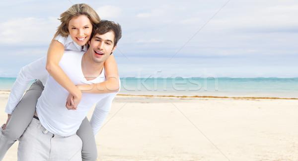 Happy couple on Punta Cana beach. Stock photo © Kurhan