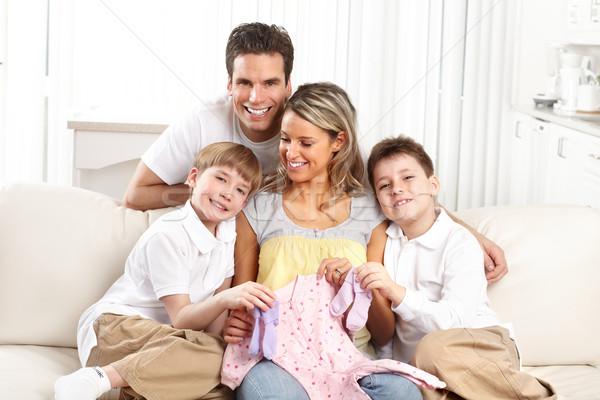 Foto stock: Família · sorridente · belo · grávida · mãe · casa · da · família