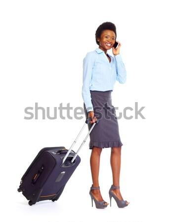 Fiatal afrikai üzletasszony izolált fehér nő Stock fotó © Kurhan