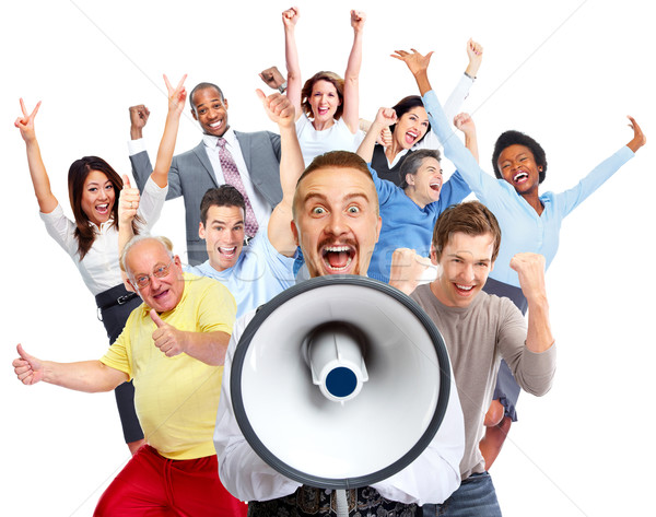Gelukkig man praten jonge man groep gelukkige mensen Stockfoto © Kurhan