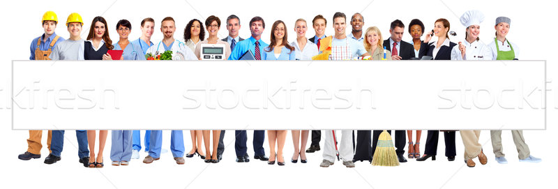 Group of business people with a billboard. Stock photo © Kurhan