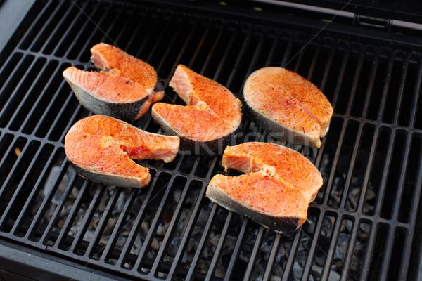 Lazac hal barbecue grill főzés étel nyár Stock fotó © Kurhan