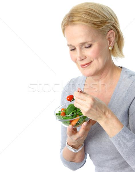 Stockfoto: Vrouw · eten · salade · volwassen · glimlachende · vrouw · vruchten