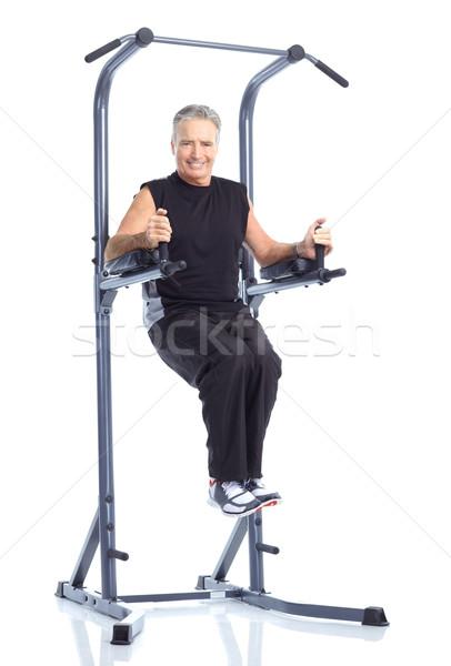 Stok fotoğraf: Spor · salonu · uygunluk · gülen · yaşlı · adam