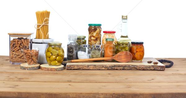 соленья продовольствие овощей стекла банку таблице Сток-фото © Kurhan