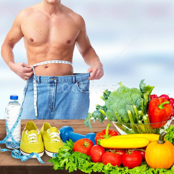 Homem abdômen grande calças comida Foto stock © Kurhan