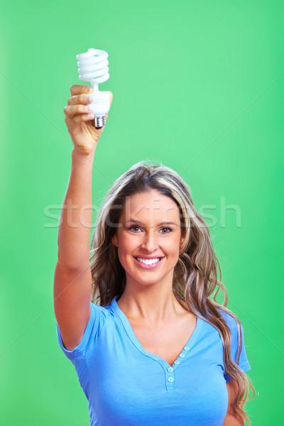 女性 蛍光灯 電球 緑 顔 光 ストックフォト © Kurhan