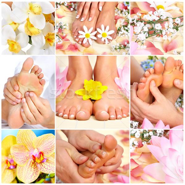 Voeten massage vrouwelijke bloemen spa vrouw Stockfoto © Kurhan