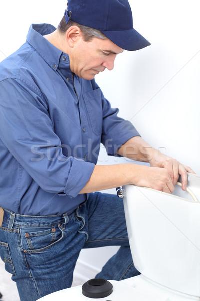 Vízvezetékszerelő érett wc javítás munka munkás Stock fotó © Kurhan