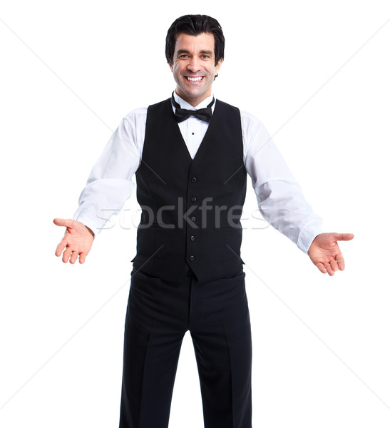 Foto stock: Garçom · homem · jovem · sorridente · isolado · branco