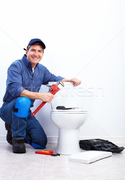 профессиональных водопроводчика туалет сантехники ремонта Сток-фото © Kurhan
