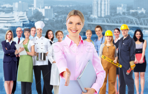 Stock photo: Business woman and Group of industrial workers.