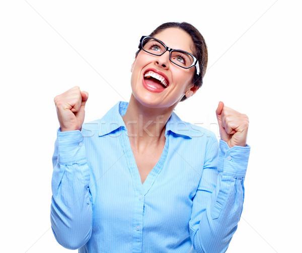 счастливым деловой женщины успех изолированный белый бизнеса Сток-фото © Kurhan