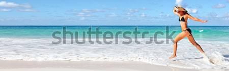 Boldog nő Miami tengerpart fut vakáció Stock fotó © Kurhan