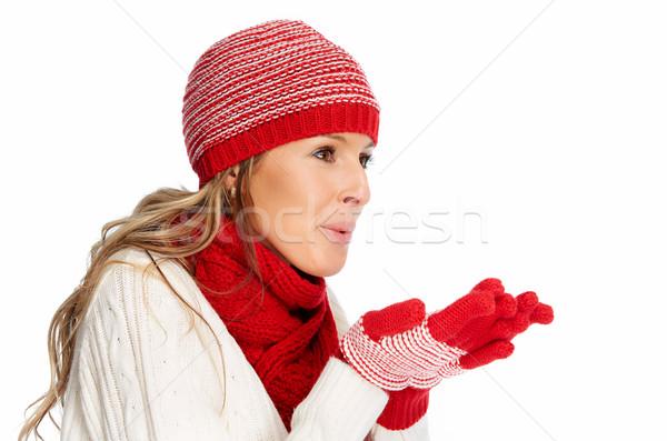 Stok fotoğraf: Mutlu · Noel · kadın · kış · giyim · yalıtılmış