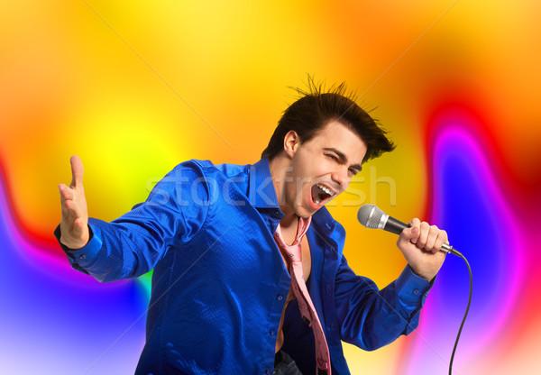 Karaoke heureux main résumé fond micro Photo stock © Kurhan