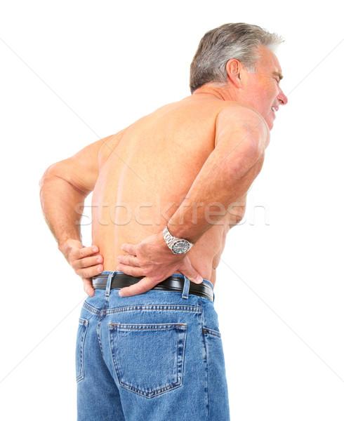 Dor nas costas homem isolado branco medicina idoso Foto stock © Kurhan