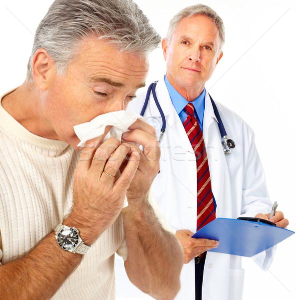 Influenza medico uomo isolato bianco faccia Foto d'archivio © Kurhan