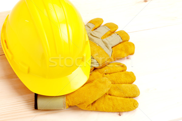 Stock photo: Worker hard hat and gloves