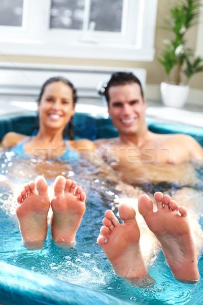 Stockfoto: Ontspannen · jacuzzi · hot · tub · zomervakantie · man