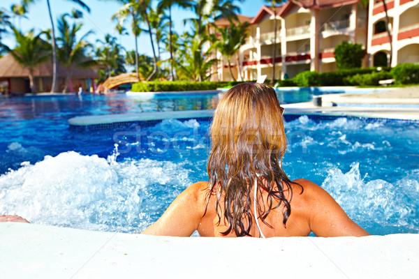 Kobieta jacuzzi relaks wakacje Karaibów resort Zdjęcia stock © Kurhan