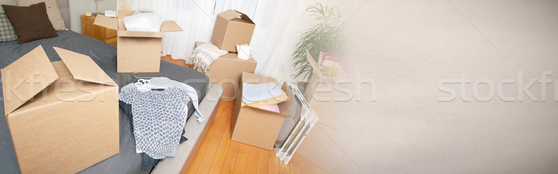 Moving boxes in new apartment Stock photo © Kurhan