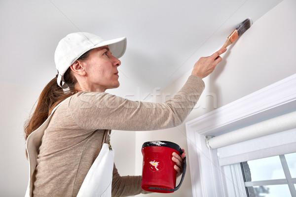 Foto d'archivio: Donna · pittura · muro · pittore · stanza · casa