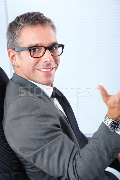ビジネスマン ハンサム 笑みを浮かべて ビジネスマン 青 ビジネス ストックフォト © Kurhan