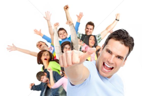 Pessoas felizes grupo mulher família menina mãos Foto stock © Kurhan