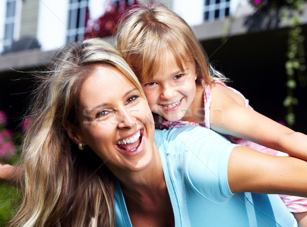 Foto stock: Familia · feliz · feliz · jóvenes · mujer · sonriente · ninos · familia
