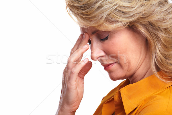 Foto d'archivio: Senior · donna · stress · isolato · bianco · faccia