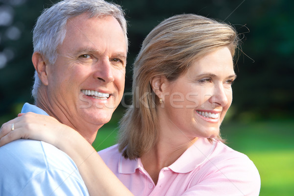 Ouderen paar glimlachend gelukkig zomer park Stockfoto © Kurhan