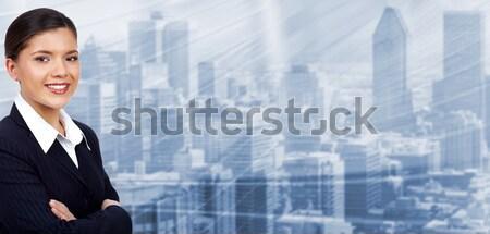 Equipe de negócios grupo jovem sorridente pessoas de negócios azul Foto stock © Kurhan