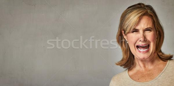 Walging senior vrouw portret mensen Stockfoto © Kurhan