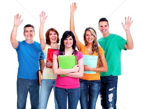 Csoport diákok tinédzserek mosolyog izolált fehér Stock fotó © Kurhan