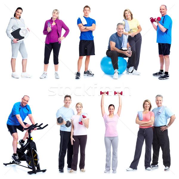 Stock fotó: Fitnessz · tornaterem · csoport · egészséges · emberek · férfi