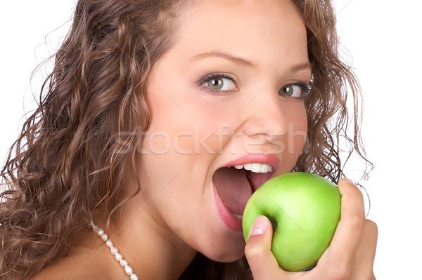 Stock foto: Frau · Apfel · schönen · grünen · isoliert