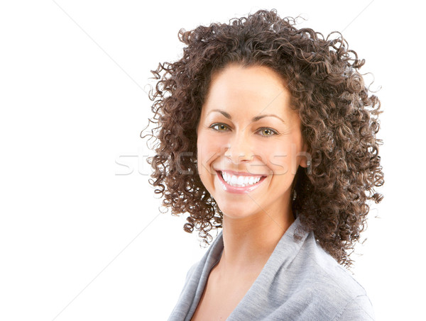 Stockfoto: Gelukkig · vrouw · mooie · jonge · glimlachende · vrouw · geïsoleerd