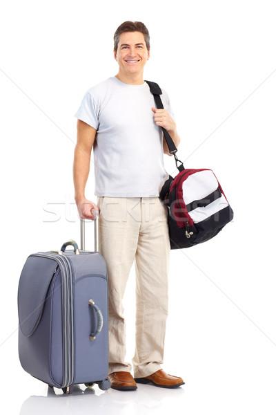 Turystycznych szczęśliwy przystojny człowiek odizolowany biały Zdjęcia stock © Kurhan