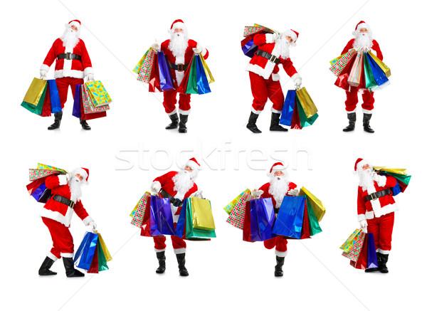 Foto stock: Compras · natal · isolado · branco · homem