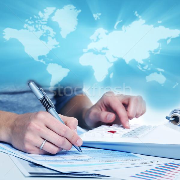 Handen zakenlieden calculator collage business kantoor Stockfoto © Kurhan