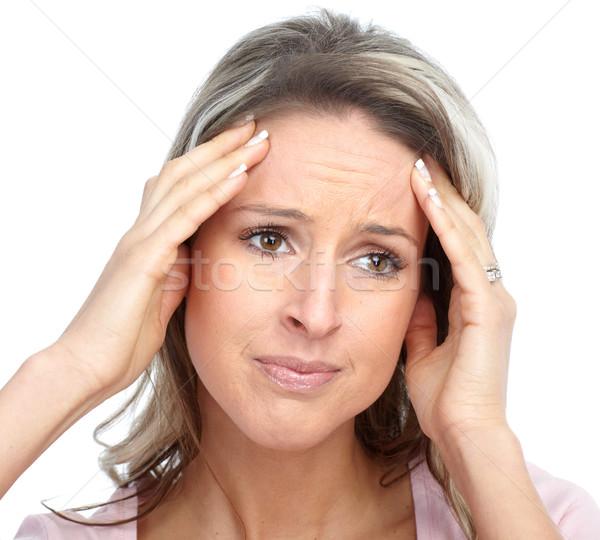 голову боль больным мигрень женщину Сток-фото © Kurhan