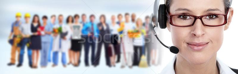 Photo stock: Secrétaire · casque · jeunes · femme · appelant · parler