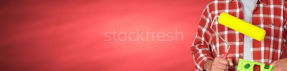 Constructeur bricoleur peinture construction outils rouge Photo stock © Kurhan