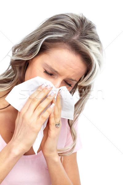 Gripe alergia mulher jovem isolado branco mulher Foto stock © Kurhan