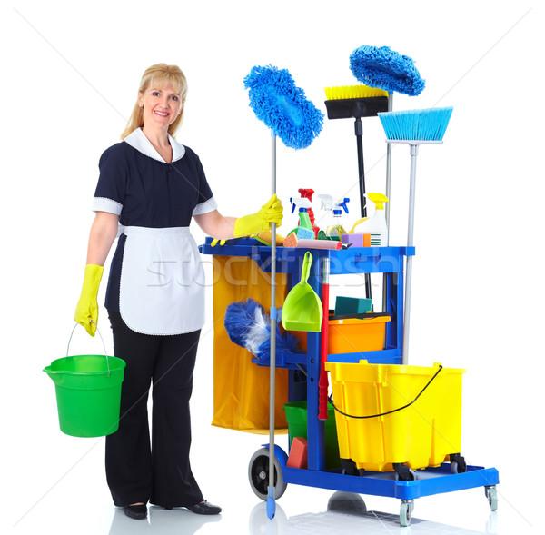 Czystsze pokojówka kobieta woźny koszyka odizolowany Zdjęcia stock © Kurhan