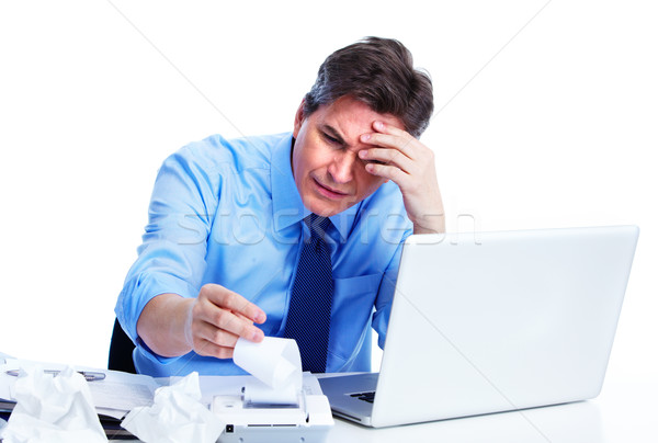 Photo stock: Comptable · affaires · stress · isolé · blanche · homme